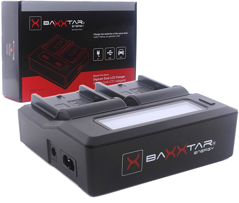 Baxxtar Pro Cargador LCD Dual Compatible con bater/ía Sony BP-U30 BP-U60 BP-U65 BP-U90 BP-U95