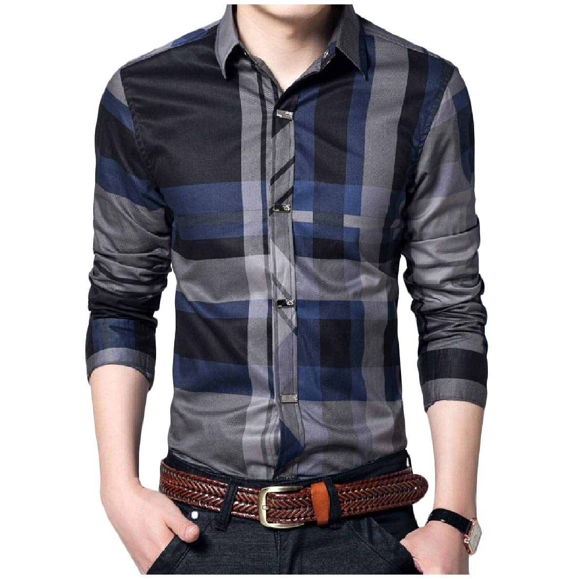 VividYou Mens Fit Long-Sleeve Plaid Button Down Lapel Plus Size T-Shirts Shirt