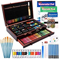 186 Piece Deluxe Art Set, Shuttle Art Art Supplies in Wooden Case, Painting Drawing Art Kit with Acrylic Paint Pencils…