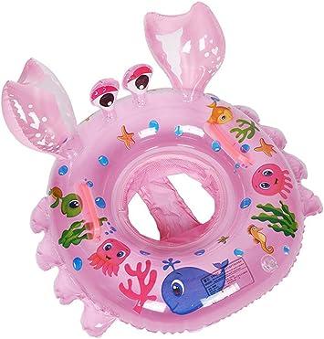 LianShi Anillo de natación Inflable para Cangrejo Flotante para Piscina con Asas (Rosado)