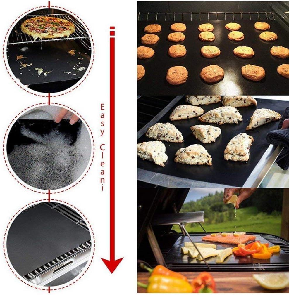 LJQLXJ BBQ 1/2/3 / 5pcs barbecue grill mat barbecue antiaderente pad riutilizzabile teflon piastra di cottura cottura all'aperto per la festa, 5 pz nero 1pc Nero