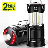 EZORKAS 2 Pack Camping Lanterns, Rechargeable Led Lanterns, Hurricane Lights with Flashlight and Magnet Base for Camping, Hurricane, Hiking, Emergency, Outage (Color: Black)