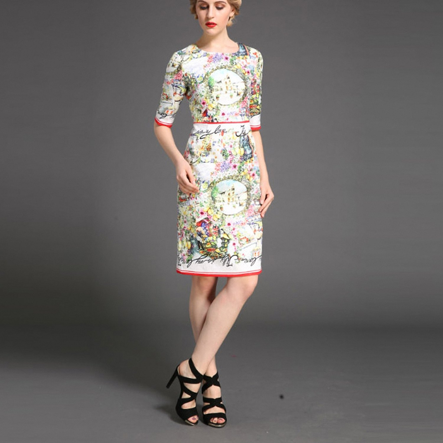 Amazon.com: Venetia Morton Fashion Vestido Autumn Women Slim Dress Designer Runway Brand Jacquard Floral Print Casual Dress: Clothing