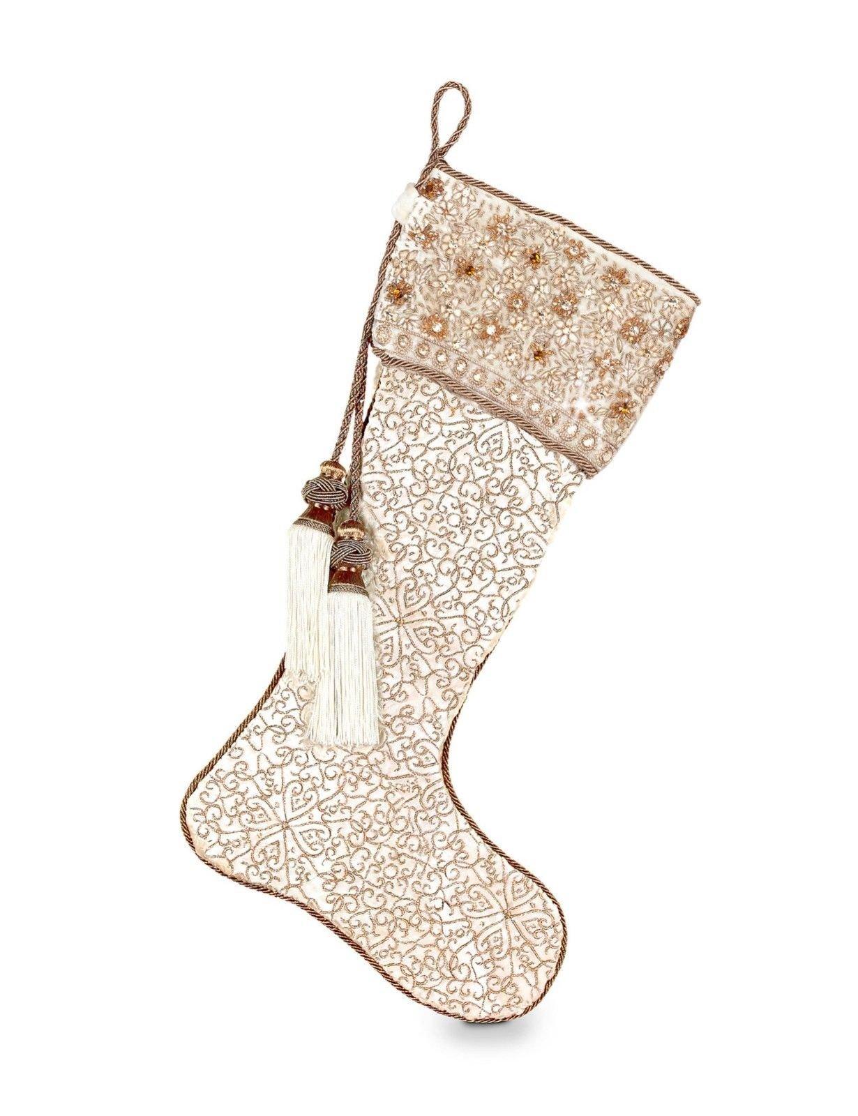 JAY STRONGWATER CHRISTMAS FLORAL FEILD GOLDEN VELVET STOCKING BRAND NEW