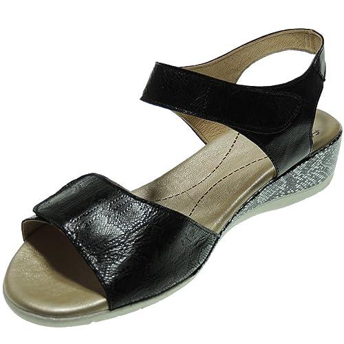73e38054fd5 Valeria s 4060 Sandalia Mujer Piel Vaquetilla Cuña 4 Cm Velcro Planta de Gel  Negro Talla 36