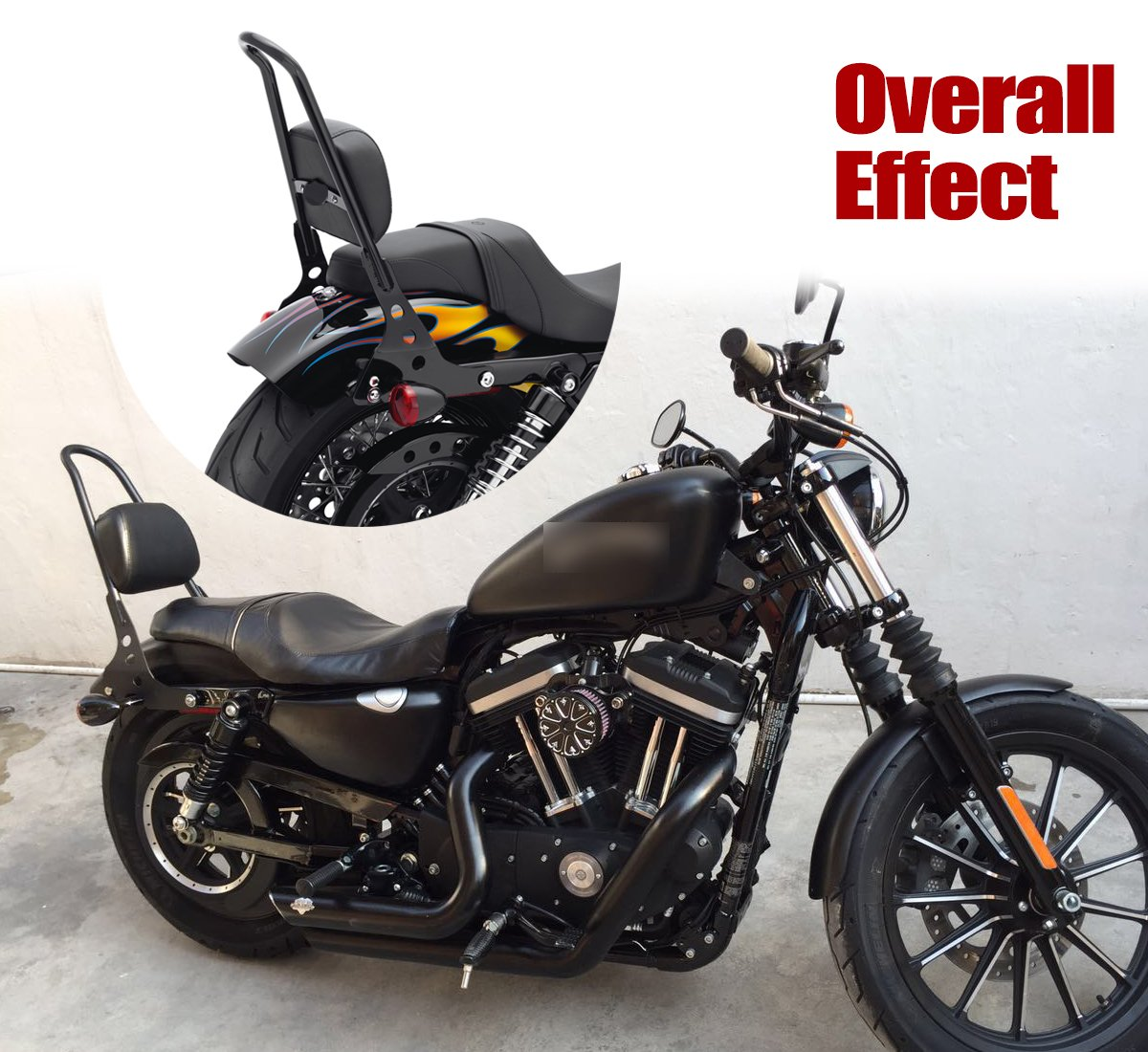 E-Most Scrub Sissy Bar Adjustable Solid Steel Passenger Backrest Luggage Rack For Harley Sportster XL 883 1200 48