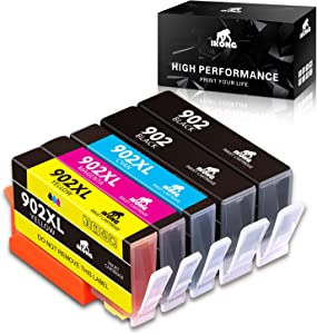 IKONG Compatible Ink Cartridge Replacement for HP 902XL 902 XL Use with OfficeJet Pro 6978 6968 6958 6975 6962 6960 6970 6950 6954 6979 6951 Printer(5 Pack)