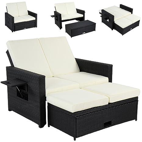 Miadomodo 3 In 1 Polyrattan Garnitur Sofa Couch Gartenmöbel