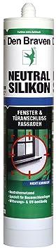 Den Braven Neutral Silikon, 300 ml, nicht korrosiv, witterungs und UV-beständig, Made in Germany, schwarz, CSO33A200005