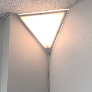 """Beacon 16"""" Triangle Corner Ceiling Light, Plug-In 17' White Cord, by Home Concept, Installs in Seconds - Perfect for Apartments, dorms - No Wiring Needed"""