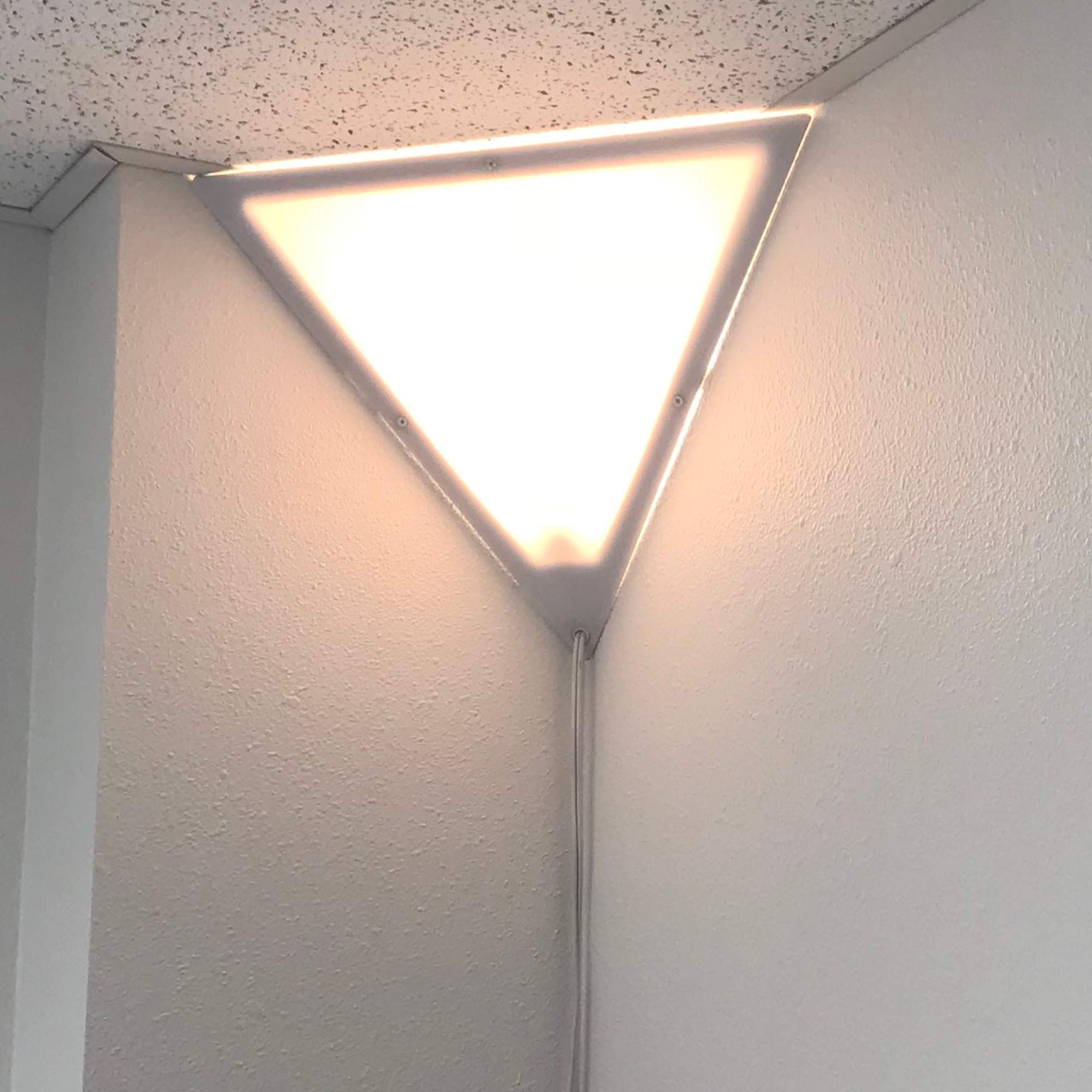 Beacon 16'' Triangle Corner Ceiling Light, Plug-In 17' White Cord, by Home Concept, Installs in Seconds - Perfect for Apartments, dorms - No Wiring Needed