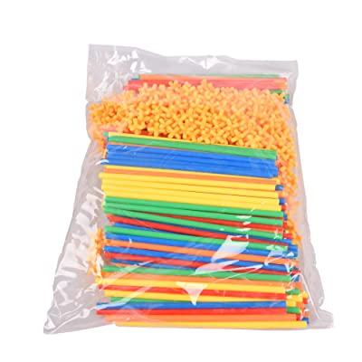 4D Straw Inserting Building Blocks Kindergarten Children's Educational Early Childhood Creative 3-7 Years Old DIY Toys Large Assembly (600 Packs (300 Joints, 300 Straws)): Toys & Games