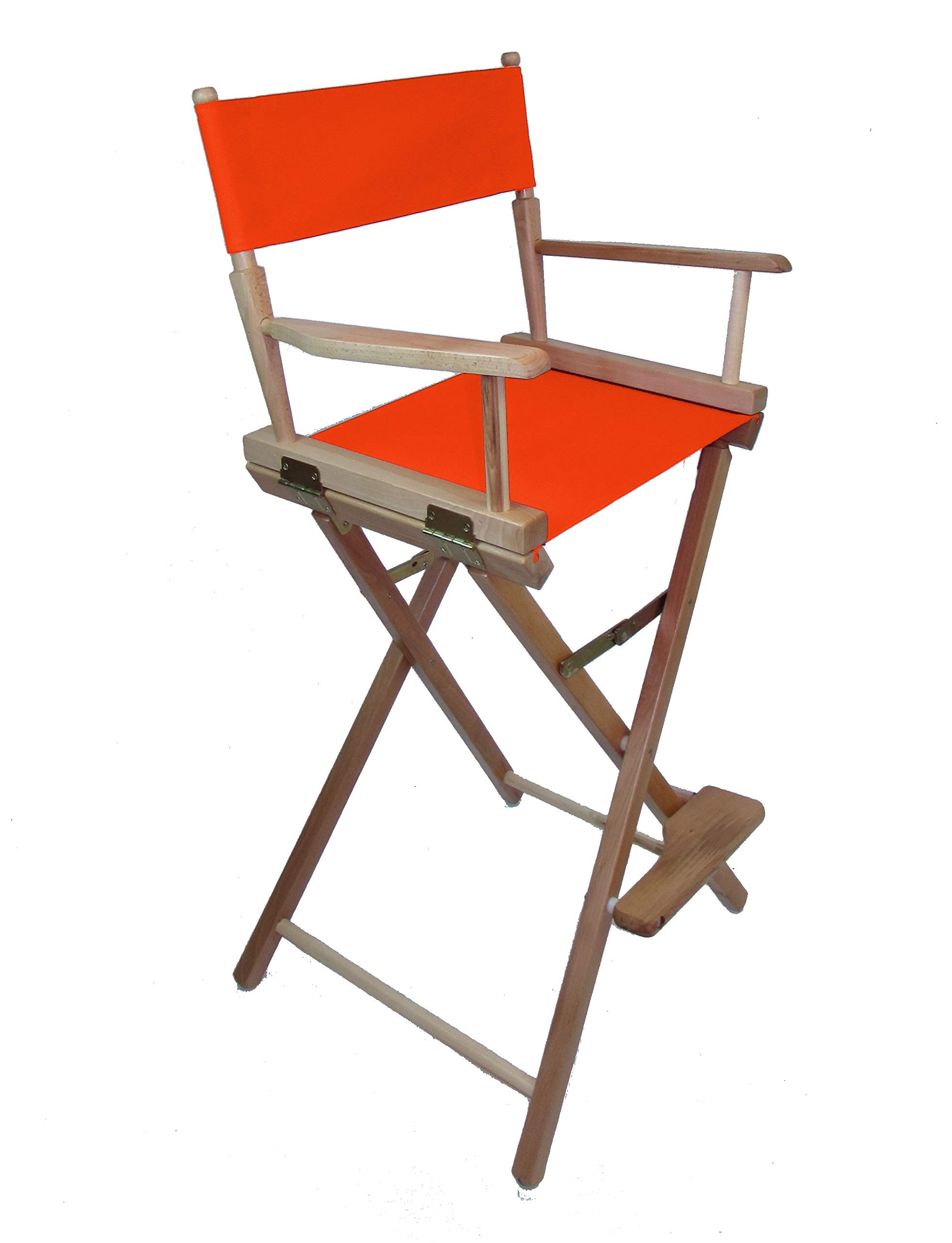 Gold Medal Commercial 30'' Bar Height Natural Frame Directors Chair - Orange by TLT