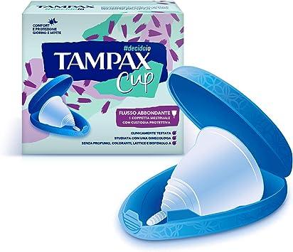 Tampax Cup, copa menstrual reutilizable con funda protectora Flujo abundante