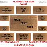Personalised stencilled coir door mat 60cmx40cm (Add your own text)