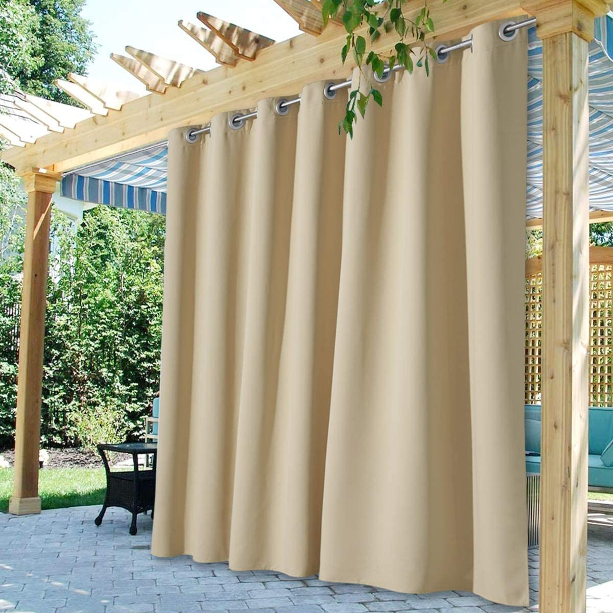 Waterproof Blackout Curtains Thermal-insulated Patio Outdoor Drape Lanai Cabana
