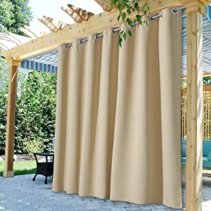 StangH Outdoor Curtains Extra Wide - Outdoor Waterproof Patio Curtains Grommet Top Blackout Thermal Insulated Drapes for Pergola / Sunroom, Cream Beige, 100 Width x 95 Length, 1 Panel