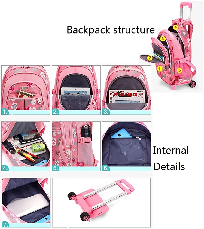 Amazon.com: Kids Rolling Backpack – Mochila con ruedas con ...