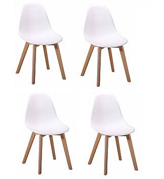 Colección Dawy - Juego de 4 sillas de diseño escandinavo, asiento ...
