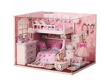 Hayatec Cute Raum Diy  Holz Puppenhaus Kits  Schminktisch Mädchen HOUSE  Holzhandwerk Kit Handgefertigt Zubehör