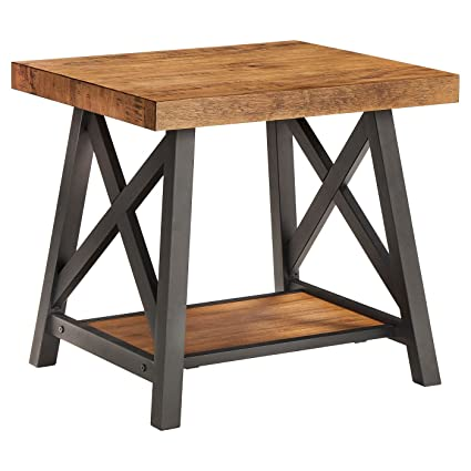 Lanshire Rustic Industrial Metal U0026 Wood End Table   Inspire Q