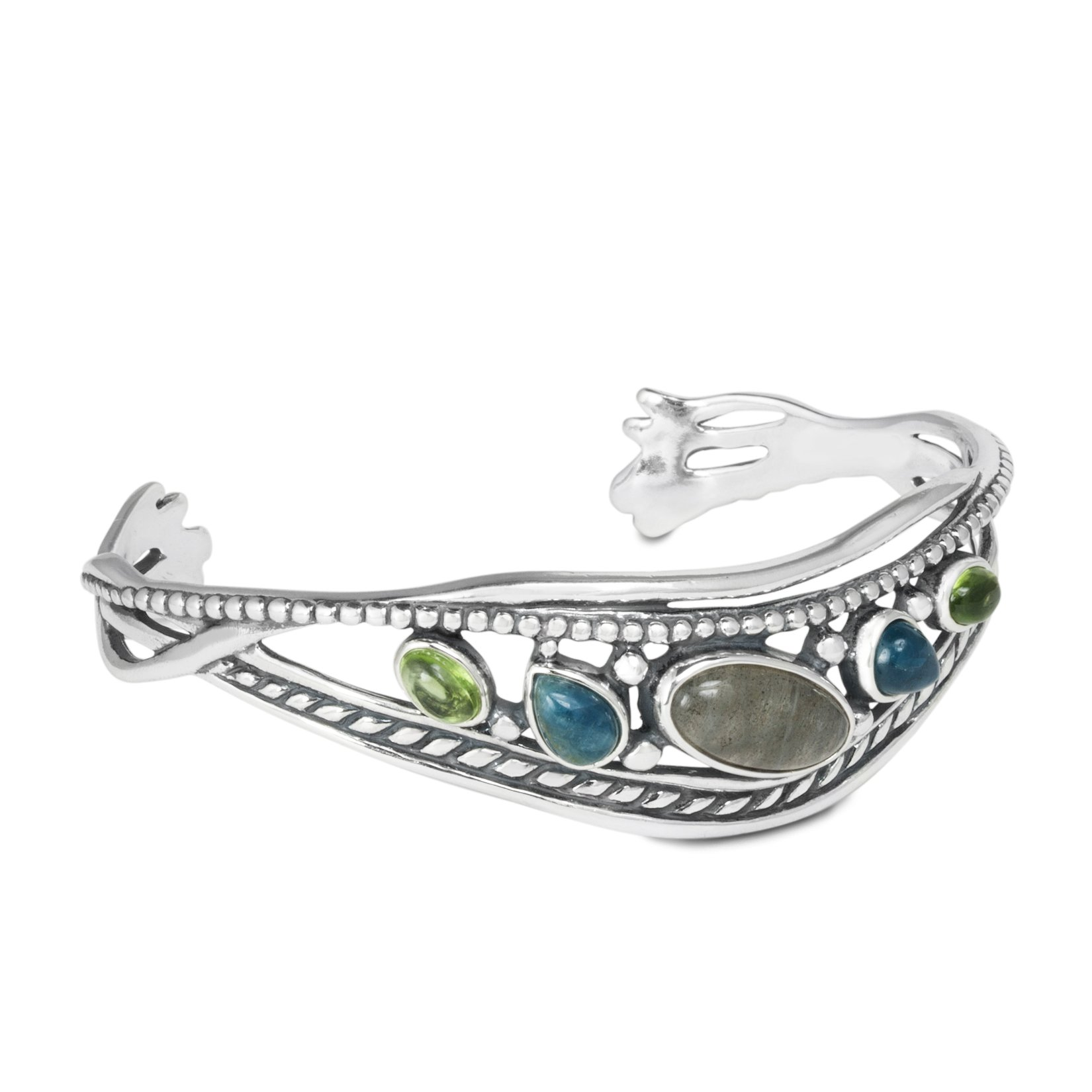 Relios Sterling Silver Multi-Gemstone Cuff Bracelet