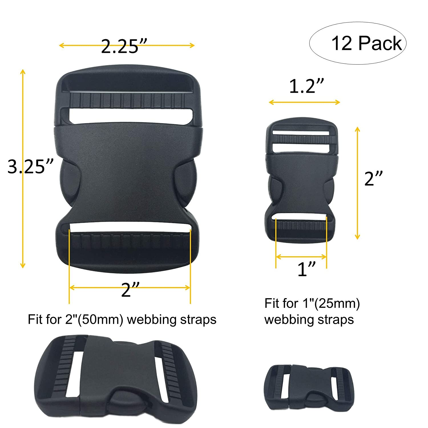 Black 5 Set 1.25 Flat Buckles Dual Adjustable Buckles and Tri-Glide Slides Quick Side Release Buckle for Luggage Straps Pet Collar Backpack Repairing