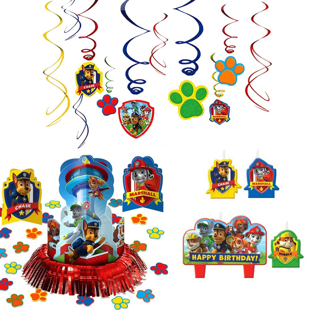 Paw Patrol Party Supplies Pack Decorations - Candle Set, Hanging Cutouts, and Table Decorating Kit by Cedar Crate Market