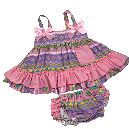 339537abc53 Cute Kids Clothing Baby Girl s Purple Pink Aztec Tribal Swing Top Ruffled  Outfit Boutique Clothing Set