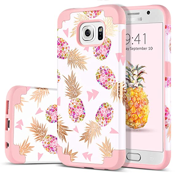 Domaver Galaxy S6 Case Drop Protection 2 In 1 Hybrid Hard Pc Soft Rubber Cute Pineapple Floral Protective Phone Case For Samsung Galaxy S6 Rose