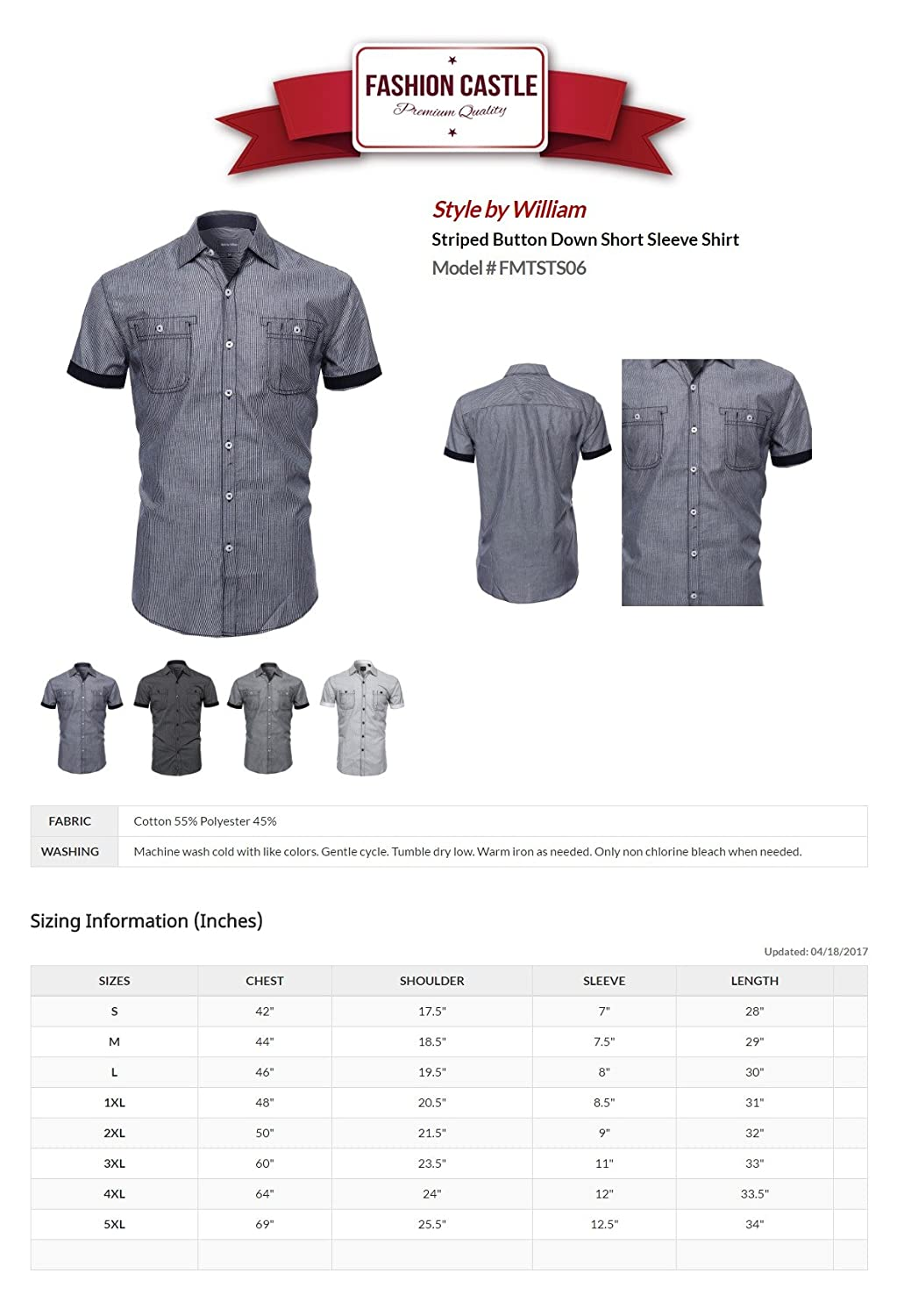 Amazon.com: SBW Mens Casual Versatile Button-Collar Down Short Sleeve Shirt Various Designs: Clothing