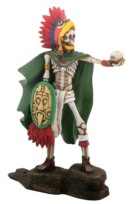 De Calavera Del Día De Los Muertos águila Azteca Guerrero Estatua De