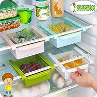 Flipzon Refrigerator Storage Rack, 4 Pack Multi-Purpose Multicolor Refrigerator Classified Storage Box