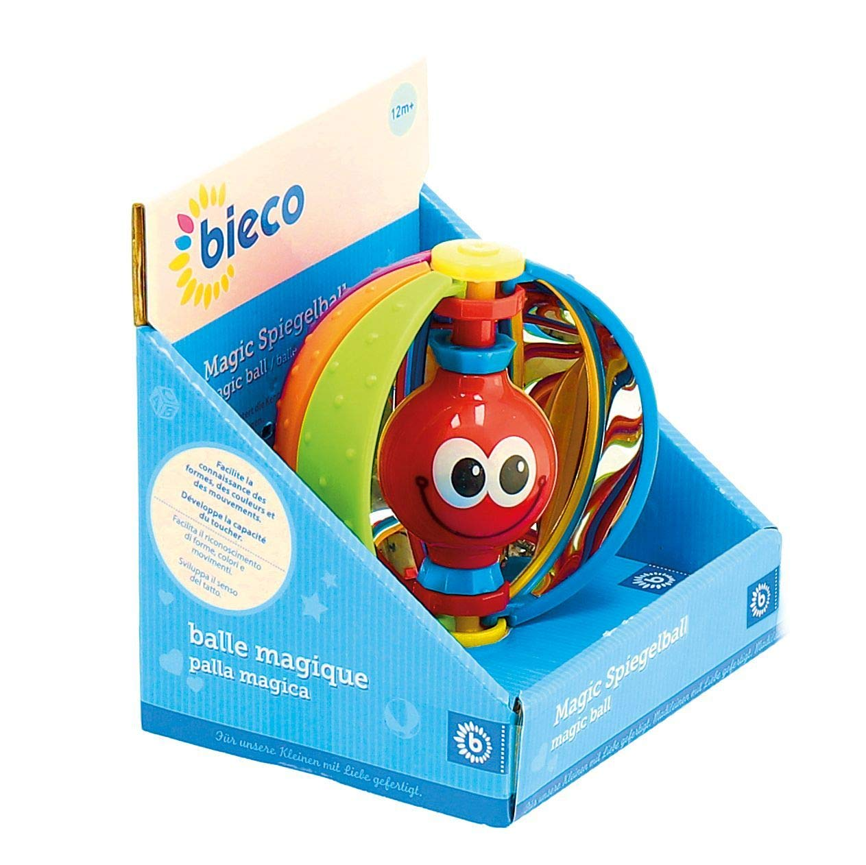 Activity Ball for Babies and Toddlers from 6m+ Bieco 41009053 Magic Mirror Ball Butterfly with Integrated Mirrors for Playing and Discovering Senses Multi-Coloured