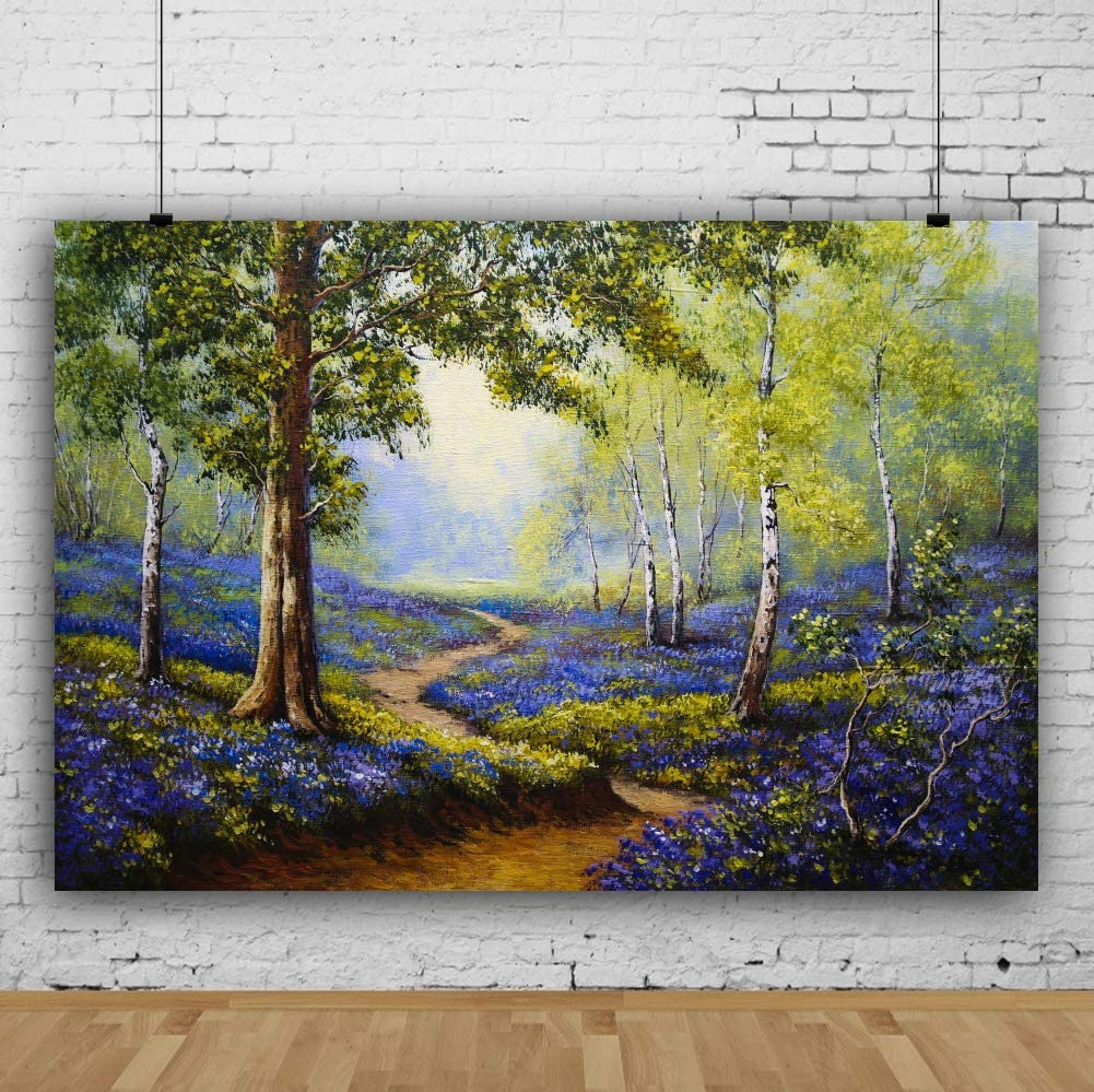 Laeacco Nature Scenery Backdrop 10x6.5ft Abstract Oil Painting Photography Background Forest Tree Blossom Purple Flowers Countryside Park Garden Summer Holiday Birthday Party Decor Portrait Shoot
