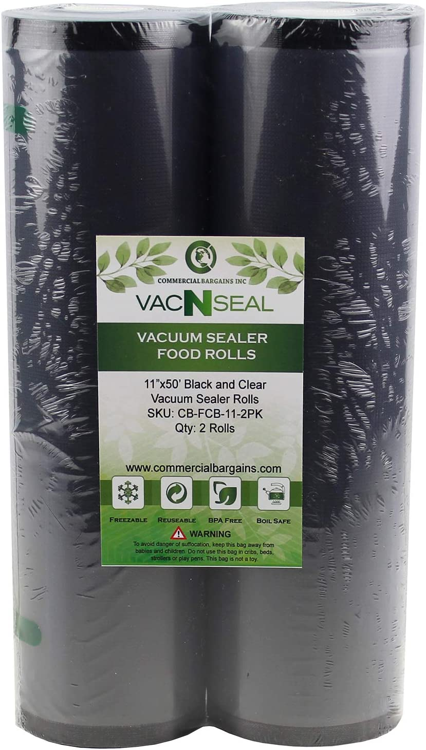 "2 Large Commercial Bargains 11"" x 50' Black and Clear Commercial Vacuum Sealer Food Storage Rolls"