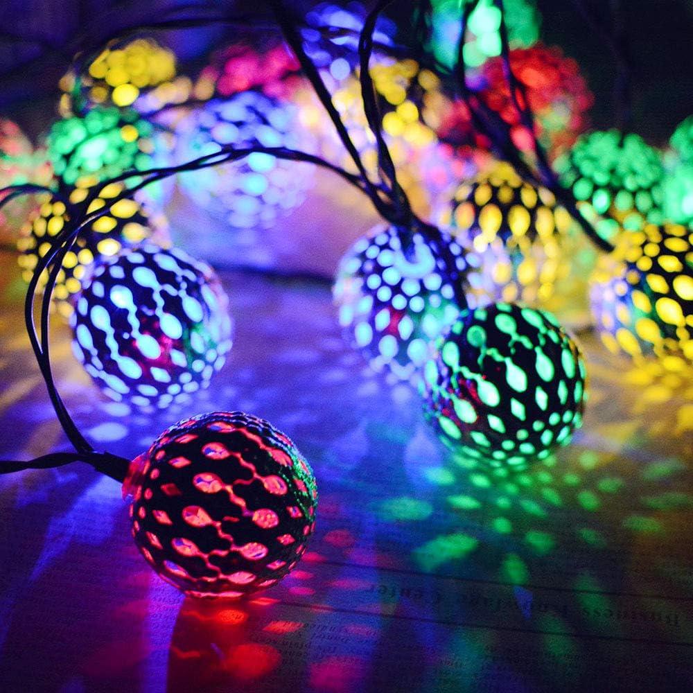 Cadena de luces Luces De Hadas Del Color Luces De Hadas Al Aire Libre Con Pilas De La Ventana De La Cortina Cuerda De Luz Solar 20Led Bola Marroquí Cuerda De Bola De Hierro Forjado Plata, Blanco