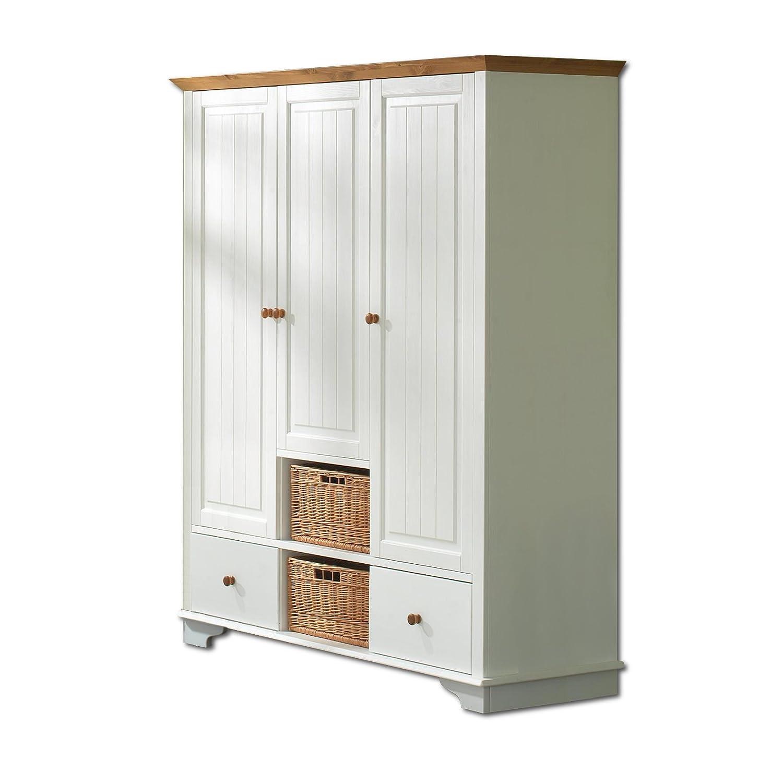 SAM® Kleiderschrank Julia 3-türig weiß lackiert Kiefernholz massiv ...