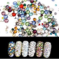 Flatback Rhinestones Mixed Colors Resin Round Crystal Flat Back Crystal Gems for Crafts Face Body Eyes Nails Makeup Festival Carnival 1440 Pieces Mix Size 1.4 mm - 4 mm