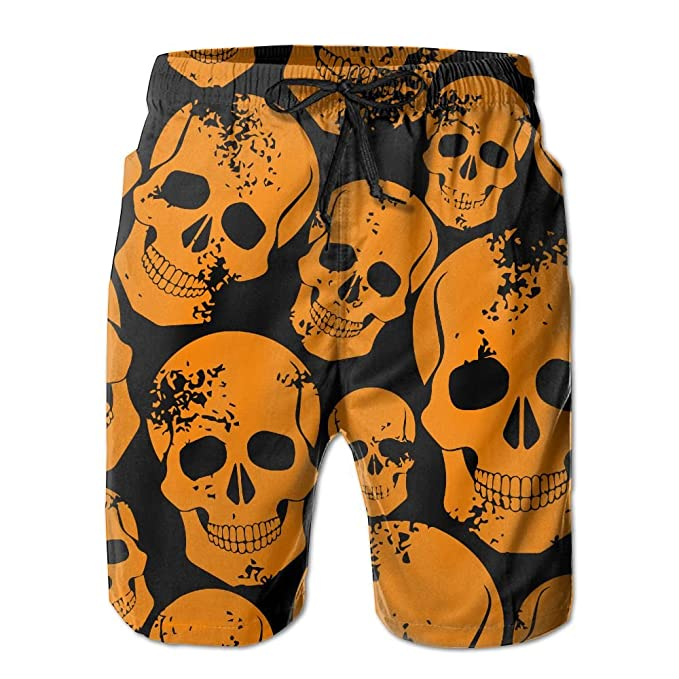 Men's Multicolor Cranial Head Summer Print Swim Breathable Ultra-Light Shorts Cargo Shorts