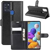 """Capa Capinha Carteira 360 Para Samsung Galaxy A21s com Tela de 6.5"""" Polegadas Case Couro Flip Wallet - Danet (Preta)"""