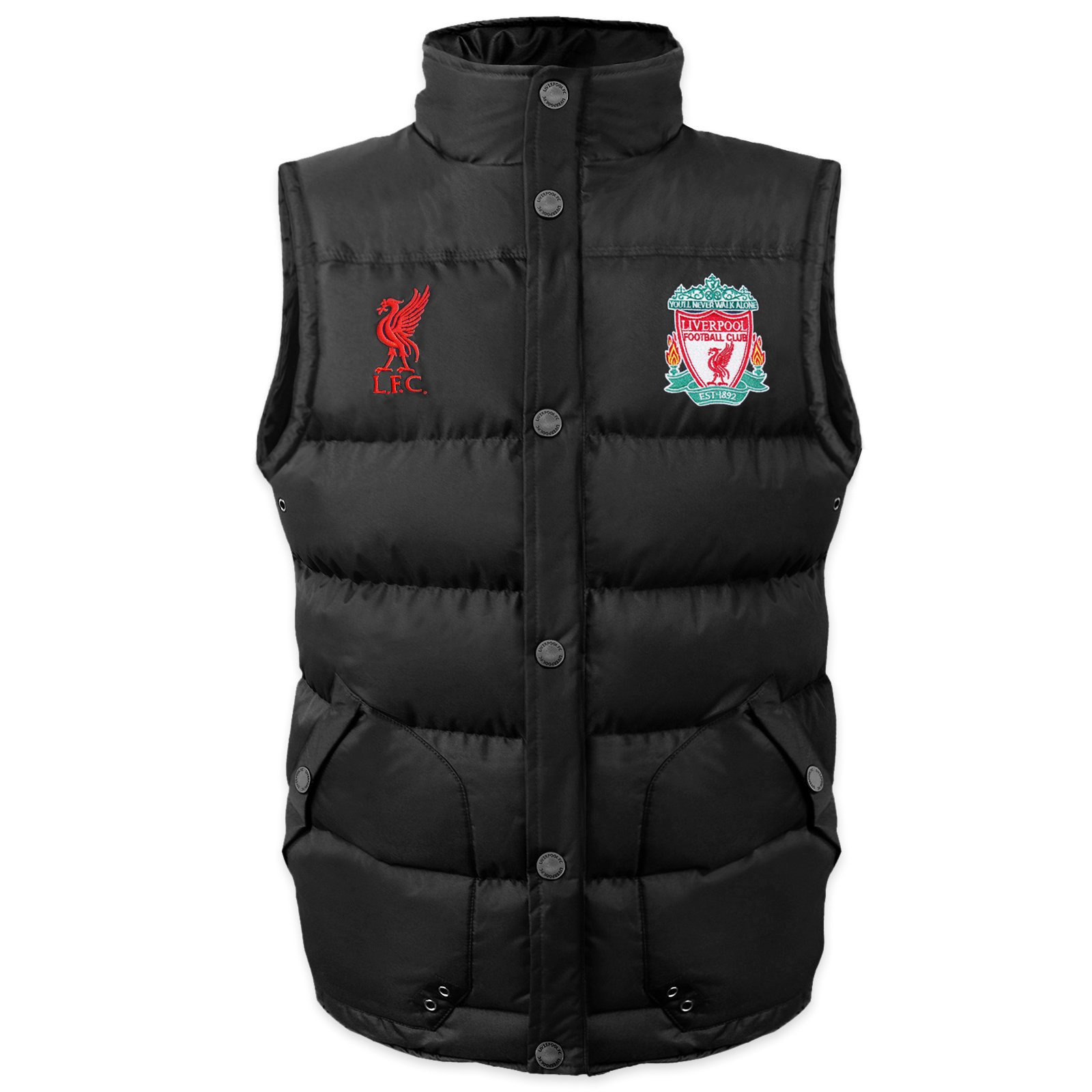 Liverpool FC Official Soccer Gift Mens Padded Body Warmer Gilet Black Large