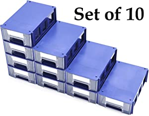 Stackable Plastic Small Parts Hardware and Craft Storage Drawers, Set of 10; Modular, Desktop, Able to Assemble into a Cabinet, with Paper Labels; Blue Casing with Clear Drawer; 5.9x3.6x1.7 Inches