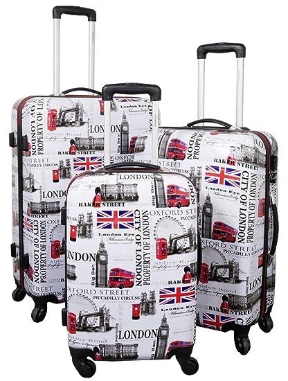 Set maleta 3 piezas Set maletas con rodamientos Casos de viajes Carcasa dura LONDON I