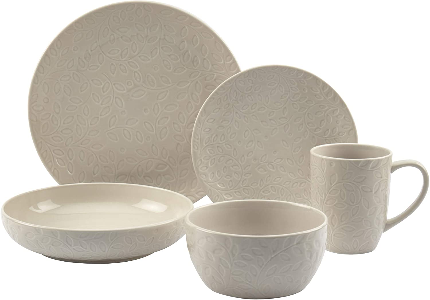 Tabletops Gallery Fashion Dinnerware Collection- Embossed Stoneware Dishes Service for 4 Dinner Salad Appitizer Dessert Plate Bowls, 20 Piece Boxwood Dinnerware Set in Cream