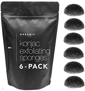 Amazon Com Minamul Konjac Exfoliating Organic Facial Sponge Set Gentle Daily Face Scrub Skincare Infused With Best Bamboo Activated Charcoal Safe For Oily Dry Combination Or Sensitive Skin 6 Pack Set Beauty