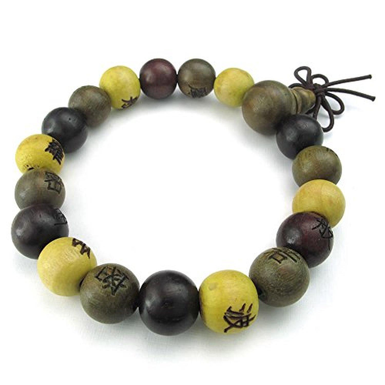 Yellow Brown CLJSTORE Jewelry Mens Womens Wood Bracelet Tibetan Sandalwood Beads Buddhist Prayer Mala