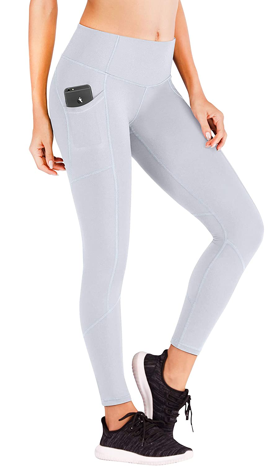 Ewedoos Yoga Pants Women Leggings with Pockets High Waist Tummy Control Workout Pants for Women 7340 (Light Grey, Small)