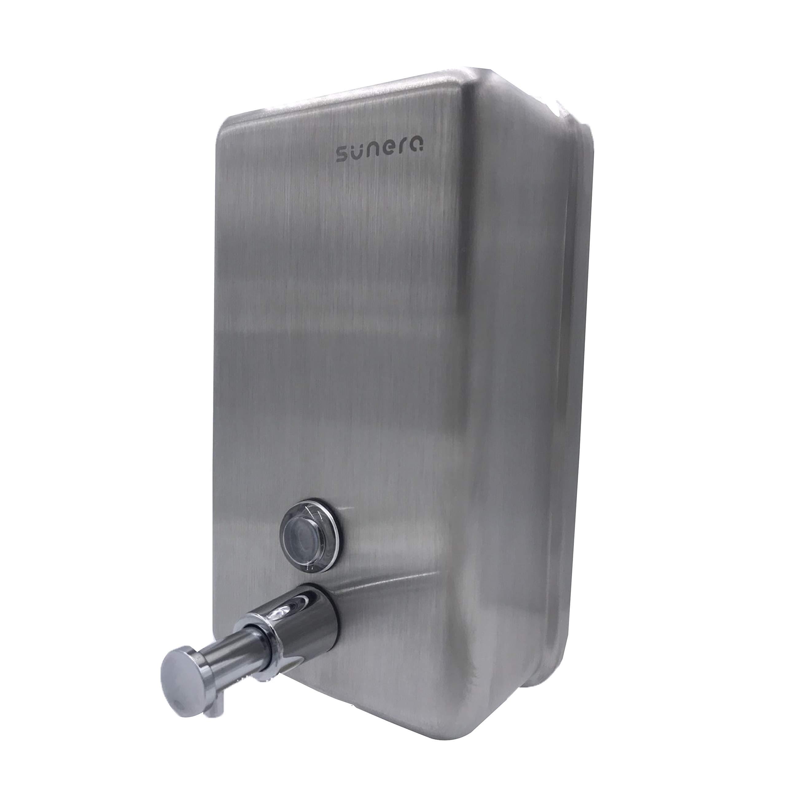 Sunera Liquid Soap Dispenser Chrome Brass Valve with Inner Tank Stainless Steel Satin Finish 40oz/1200ml