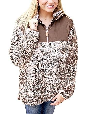 418b3a83b Ruanyu Women's 1/4 Zip Collar Fleece Sherpa Pullover Wool Pile Fuzzy ...